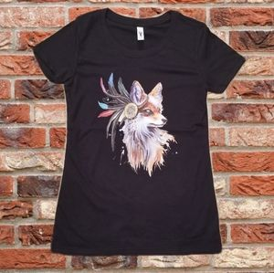 Tops - Native American Fox Feathers Black Graphic T Shirt